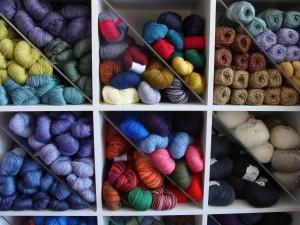 yarn in bins